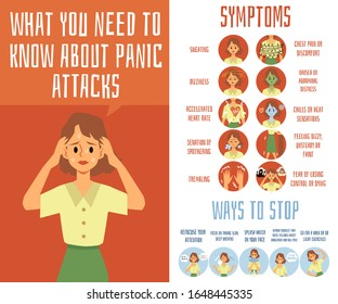 Panic attack medical symptoms banner with woman cartoon character feeling fear and pain, flat vector illustration. Ways to stop fit of uncontrollable fear.