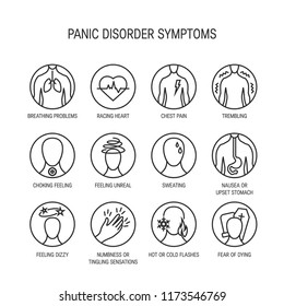 Panic attack symptoms, line icons, vector illustration.