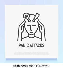 Panic attack thin line icon. Modern vector illustration of person in stress.