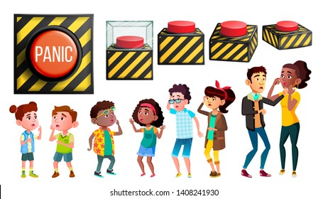 Panic Characters People And Red Button Set Vector. Different Size And View Alarm Danger Knob, Multiethnic Scared, Panic And Stressed Children And Adult Person Group. Design Flat Cartoon Illustration