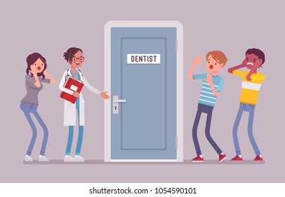 Panic at dentist door. Group of young people in fear of dentistry and of receiving dental care, visit to doctor is terrifying. Medicine and healthcare concept. Vector flat style cartoon illustration
