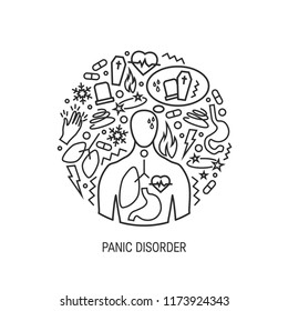 Panic disorder concept made of simple line icons, vector round shape