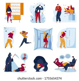Panic fear in people vector illustration set. Cartoon flat man woman character afraid of spider in panic attack, panicking and running from scary shadow black monster. Fearing phobia isolated on white