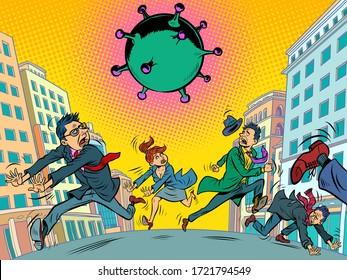 panic people running away from coronavirus. epidemic and fears. Comics caricature pop art retro illustration drawing