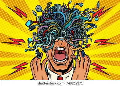 panic people wire adapter cables pop art background. retro vector illustration