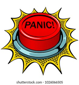 Panic red button pop art retro vector illustration. Isolated image on white background. Comic book style imitation.