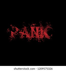 panic red grunge text on black background.scary background. horor style