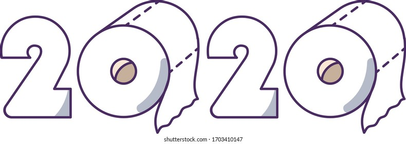 Panic in supermarket due to coronavirus crisis and pandemic of covid-19. Toilet paper roll. Best seller item in 2020. Vector illustration.
