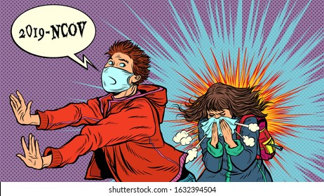 Panic. The young man is afraid of a sneezing sick girl. Novel Wuhan coronavirus 2019-nCoV epidemic outbreak. Pop art retro vector illustration 50s 60s style