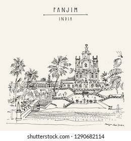 Panjim (Panaji), Goa, India. Our Lady of The Immaculate Conception Catholic church. Portuguese colonial style building. Hand drawn cityscape. Travel sketch. Vintage artistic postcard. Vector