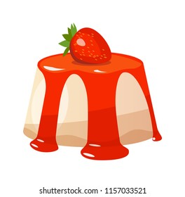 Panna Cotta dessert isolated on white background. Vector icon illustration of Tasty and very Beautiful italian dish with Strawberry like Cheesecake.