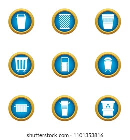 Pannier icons set. Flat set of 9 pannier vector icons for web isolated on white background