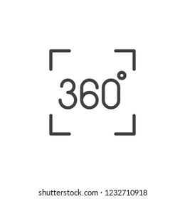 Panorama 360 degree outline icon. linear style sign for mobile concept and web design. 360 degrees virtual reality simple line vector icon. Symbol, logo illustration. Pixel perfect vector graphics