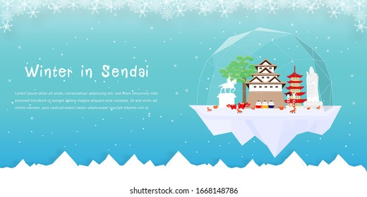 Panorama advertising template with winter in Sendai concept, Sendai famous landmarks in paper cut style vector illustration
