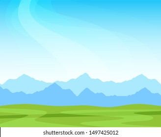 Panorama with alpine mountains on a sunny day, nature scenic landscape illustration with copy space on top. Vector design for banner or wallpaper.