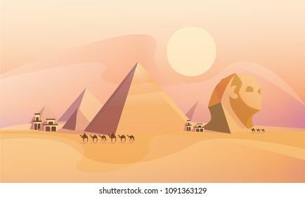 Panorama of the ancient Egyptian pyramids. Vector illustration.