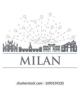 Panorama of the badges, icons, symbols of Italy. Objects are noble gray color. City of Milan. Design graphics for your design, infographic or site