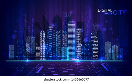 Panorama banner of Digital City at twilight in cool blue tones with lights illuminated in the high-rise buildings of the central business district, vector illustration