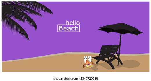 Panorama of Beautiful Sea, Silhouette of  Tropical beach vector background  illustration - Vector