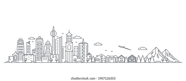 panorama of a big city metropolis with modern buildings and skyscrapers and private houses, mountains and nature in a linear style. country life and leisure concept. vector illustration isolated
