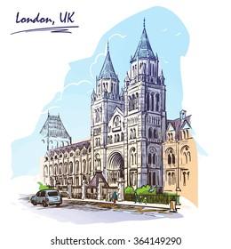 Panorama of the British Natural History Museum facade. Watercolor imitating painted sketch. EPS10 vector illustration.