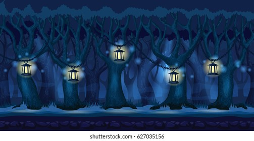 Panorama cartoon background of a forest. Seamless parallax for arcade video game. Landscape in dark blue colors lit by lanterns at night. Vector illustration