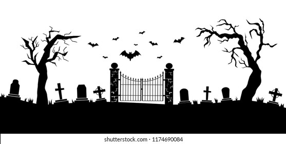Panorama of cemetery or graveyard. Silhouettes of gravestones, fence, trees etc isolated on white background. Black and white vector illustration for Halloween