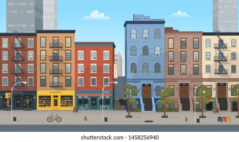 Panorama city building houses with shops: boutique, cafe, bookstore.Vector illustration in flat style. Background for games and mobile applications.