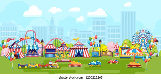 Panorama of city park festive fair and merry-go-rounds on urban background. Amusement park with Ferris wheel and kids playground on simple urban background. Cartoon amusement park on sunny summer day.