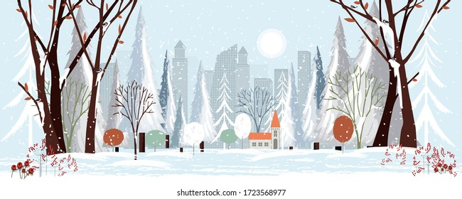 Panorama city in winter holidays landscape, Christmas and new year 2021 celebrated with cityscape background,Vector flat of horizontal banner winter wonderland in the town.
