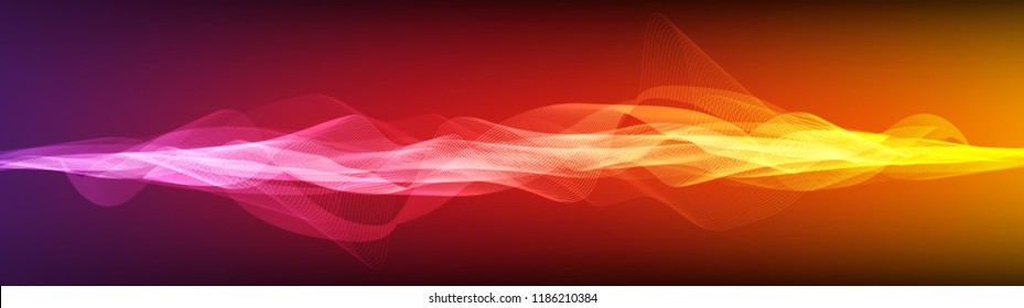 Panorama Colorful Digital Sound Wave  Background,technology and earthquake wave diagram concept,design for music studio and science,Vector Illustration.