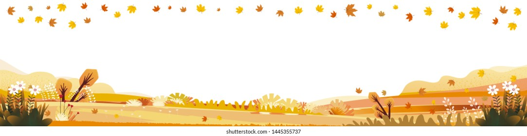 Panorama of Countryside landscape in autumn with copy space, Vector illustration of horizontal banner of autumn with landscape mountains, wild flowers and leaves fallen with yellow foliage.