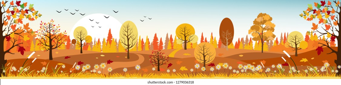 Panorama of Countryside landscape in autumn, Vector illustration of horizontal banner of autumn with landscape mountains, wild flowers and leaves fallen with yellow foliage.
