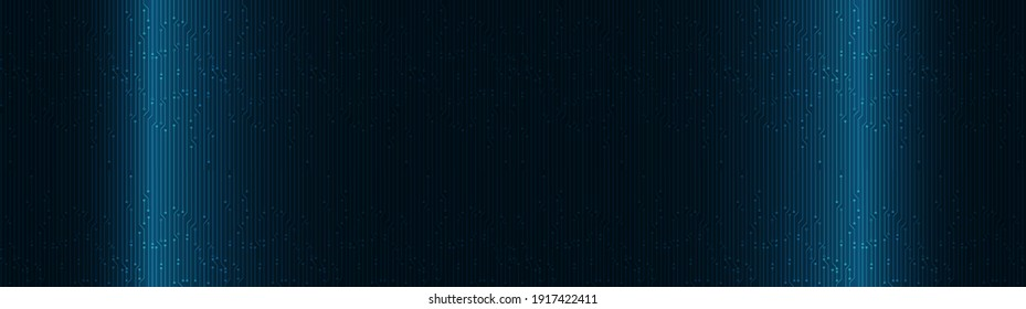 Panorama Dark Technology Screen Background,Hi-tech Digital and sound wave Concept design,Free Space For text in put,Vector illustration.