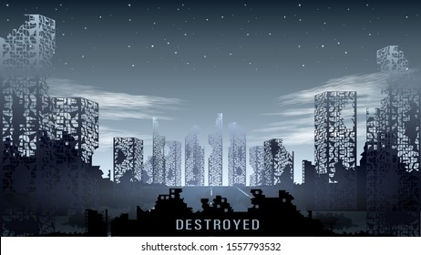 Panorama of the destroyed city against the night starry sky. Realistic post-apocalyptic scenery. Dark ruins and skeletons of buildings. Monochrome vector Illustration stock.