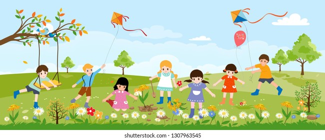 Panorama farm field with group of children playing kite, swing,balloon and planting flowers on sunny summer day, Vector Illustration Green nature landscape with active Boys and Girls playing in spring