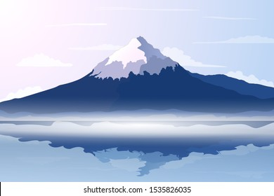 Panorama of Fuji Mountain with Reflection on Water of Lake - Famous Landmark of Japan. Vector Illustration