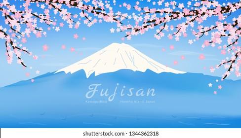 Panorama Fuji San Landmark, Panorama Fuji Mountain View and Sakura Flower Branches Elements, Panorama Mouth Fuji Japan Post Card