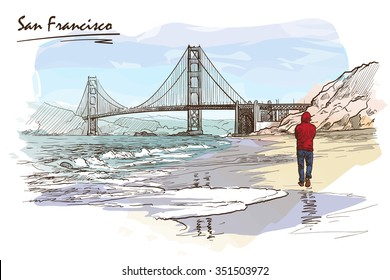 Panorama of The Golden Gate bridge and a lonely man walking down the beach. Watercolor imitating painted sketch. EPS10 vector illustration.