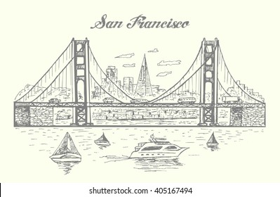 Panorama of The Golden Gate bridge and San francisco cityscape,hand drawn,sketch style,vector,isolated.