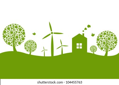 Panorama With House, Isolated On White Background, Vector Illustration
