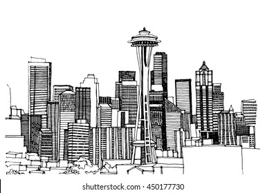 Panorama illustration. Hand drawn ink line sketch Seattle city, Washington with buildings, tower, roofs in outline style perspective view. Postcards design.