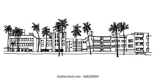 Panorama illustration. Hand drawn ink line sketch Miami South beach , Florida with buildings, palm trees, roofs in outline style perspective view. Postcards design.