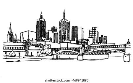 Panorama illustration. Hand drawn ink line sketch Melbourne, Australia with buildings,skyscrapers,bridge, canal, sea in outline style. Ink drawing of cityscape. Perspective view.