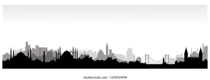 Panorama of Istanbul flat style vector illustration. Istanbul architecture. Cartoon Turkey symbols and objects. Monochrome silhouette of Istanbul. Historic center of Istanbul
