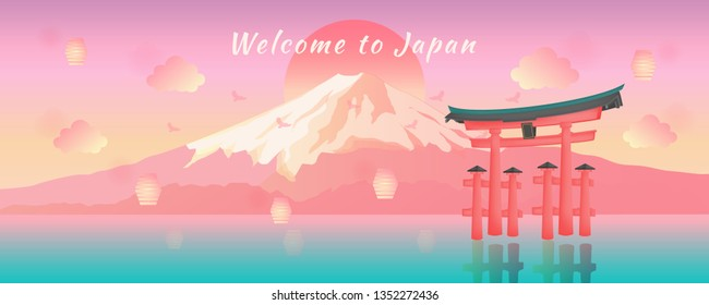 Panorama Japanese Travel Postcard and Banner with Mount Fuji View and Japan Gate along with mid autumn lanterns during sunset illustration vector