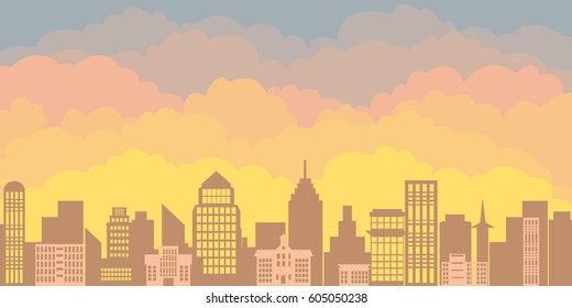 Panorama landscape of the morning silhouette of the city. Sunrise against the backdrop of a large city with skyscrapers and office buildings in a flat style.