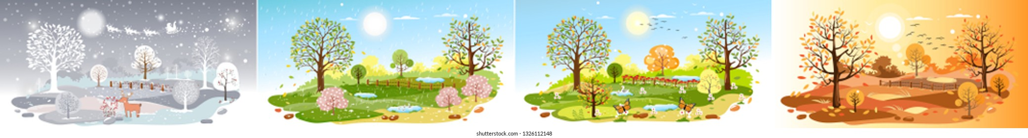 Panorama landscape natural backgrounds of four seasons. Winter wonderland, Rainy on Spring,Hot sunny day on summer, Autumn with leaves falling.Set cartoon flat design 4 seasons background illustration