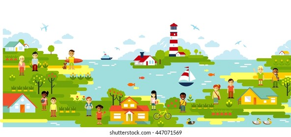 Panorama landscape with people. Sea and town village panoramic background in flat style