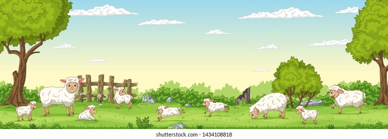 Panorama landscape with sheep. Vector illustration with separate layers.